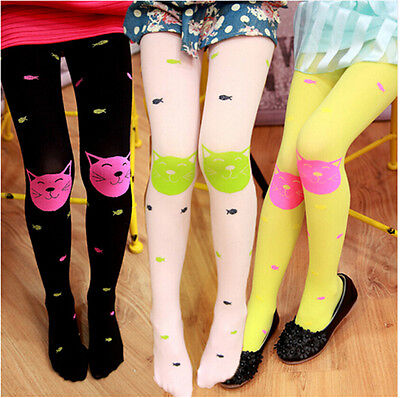 Cute High Quality girls tights Velvet candy colors Cat Fish Pantyhose for kids