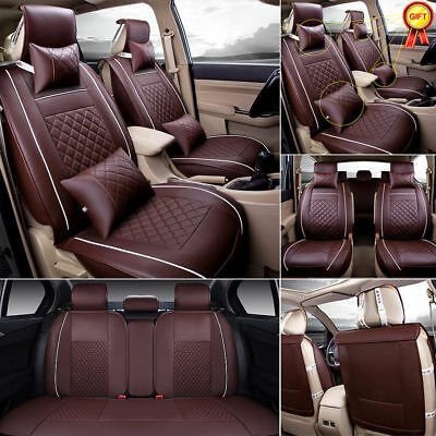 US 7pcs PU Leather Car Seat Cover 5-Seats SUV Front & Rear W/Pillow All Seasons