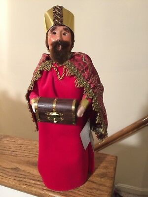 "Byers Choice 14"" Retired Nativity Red Wise Man With Myrrh"