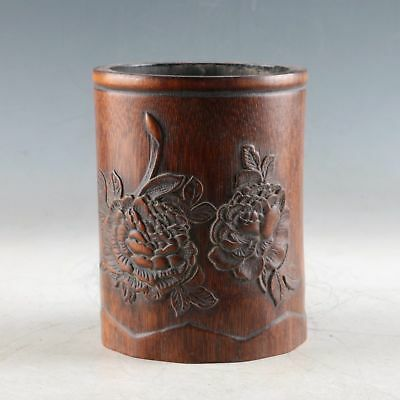 Exquisite Bamboo Wood Hand Carved The Flowers Brush Pot DY537