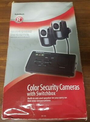 Radioshack 49-105 Color Security cameras with switchbox NEW Never Used!