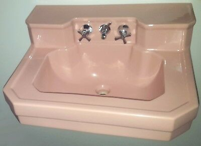 MID-CENTURY PINK BATHROOM SINK HEAVY-DUTY PORCELAIN RETRO COLOR VINTAGE 1950s