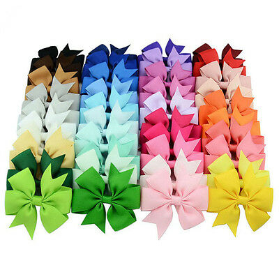 40Pc Lot BIG Baby Girls Kids Grosgrain Ribbon Boutique Hair Bows Alligator Clips
