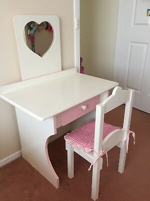 Girls Wooden Dressing Table With Mirror And Chair