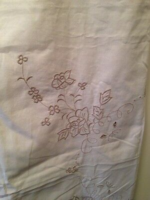 Vintage Tablecloth-Embroidered,Ecru,Square,High Tea.