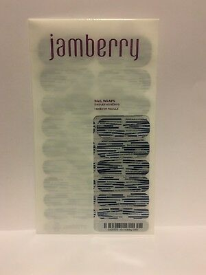 Jamberry Nail Wraps ON HOLIDAY Blue White Sparkle Winter RETIRED Full Sheet