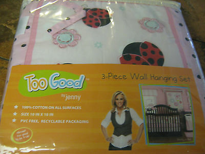 Too Good by Jenny--Pretty in Pink-- 3 piece wall hanging set--100% cotton--New