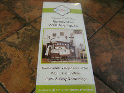 CoCaLo-Pewter Collection--Brown-Removable Wall Appliques-4 sheets-New in package