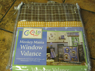 "CoCaLo-Monkey Mania-Window Valance-Blue-brown-to fit 36""x 48"" window--New w/tags"