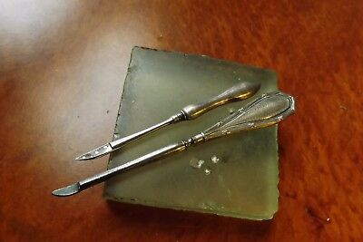2 X Gorgeous Antique Silver  Leather Cutting Tools Made in England