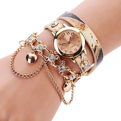 Women Leopard Band Bracelet Quartz Braided Winding Wrap WristWatch Beige Watch