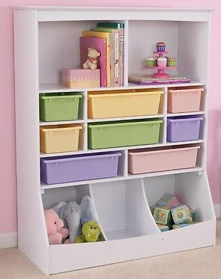 Storage Units For Kids Toy Organizer Box Bin Bedroom Wall Bookcase Playroom Wood