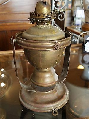 antique maritime brass ship's oil lamp, gimbal mounting bracket E. Miller Co USA