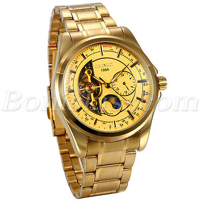 Mens Luxury Gold Tone Stainless Steel Moonphase Automatic Mechanical Wrist Watch