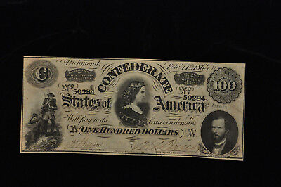 1864 One Hundred Dollar Confederate States of America Note /X13