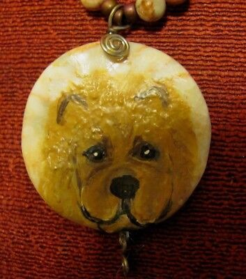 Chow Chow hand painted on round Redline Marble pendant/bead/necklace