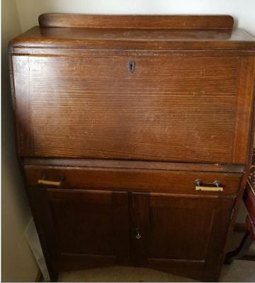 70 years old Antique Secretary Desk with Drawer and Cabinet, Key included