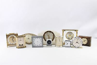 Lot of 11 x Vintage HAND-WIND&QUARTZ Carriage&Mantel Clocks Mixed UNTESTED