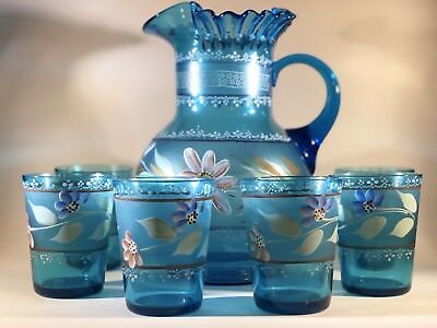 Blue Victorian Glass Lemonade / Water Set - Pitcher & Tumblers / Glasses, Floral
