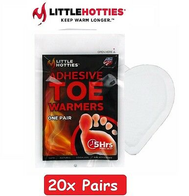20 Pairs 40 Little Hotties Ski Snow Feet Foot Toe Warmers Pack Fuel Warmer NEW