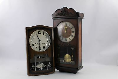 2 x Vintage Hand-Wind Mantel Clocks Mixed Designs SPARES&REPAIRS