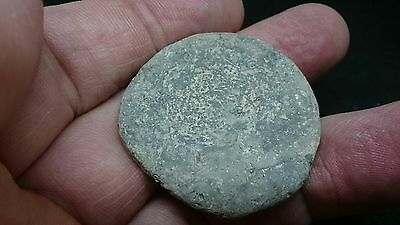 Large Rare Roman Lead weight with faint stamp on top, flat bottom L401