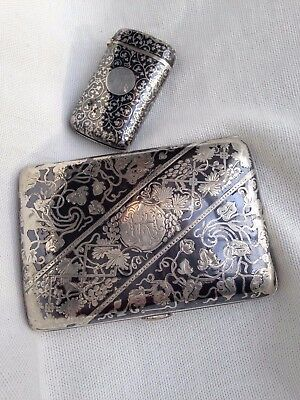 Lot 2 x Antique Finest Austrian solid Silver Niello cigarette and vesta cases