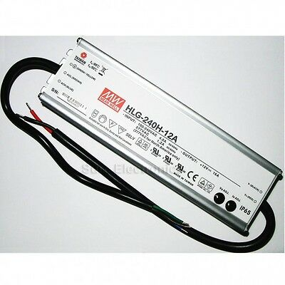 Mean Well HLG-240H-12A 192W 12V 16A Power Supply LED Driver Water & Dust-proof