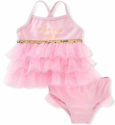 NWT Juicy Couture Baby Girls 2 Pieces Swimsuit, Pink, 6/9M