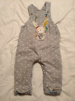 Girls 9-12 months grey bunny rabbit winter quilted padded dungarees heart cotton