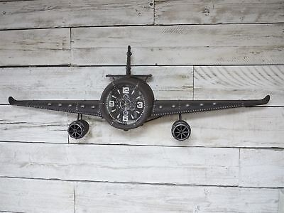 Large aeroplane rustic wall clock, Plane ornament with clock 145 cm wide