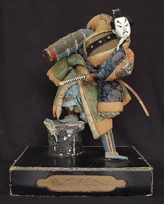 Antique Japanese Takeda Doll Ningyo with Glass Case