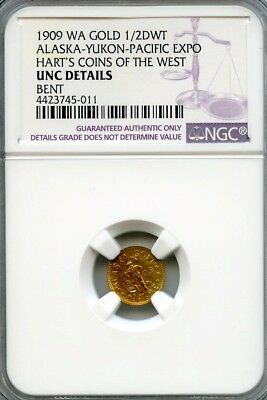 1909 1/2 DWT Alaska-Yukon-Pacific Expo Hart's Coins of the West NGC UNC Details