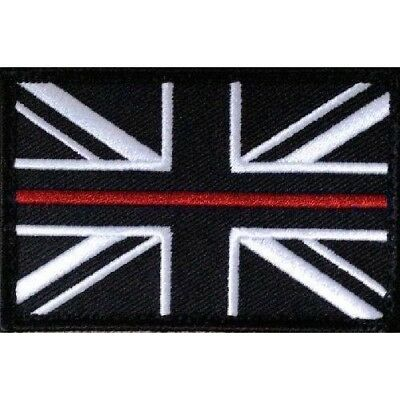 Thin Red Line Union Jack Hook & Loop Backed Badge Patch (Small) Fire & Rescue