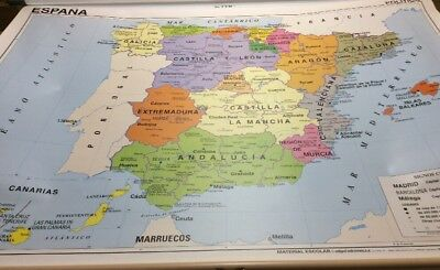Vintage Rand McNally Two-sided Pull Down Map Of Spain 12144A