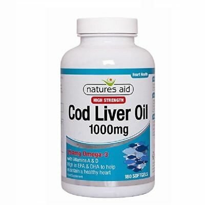 Natures Aid Cod Liver Oil 1000mg High Strength 180 Softgels 1 2 3 6 12 Packs