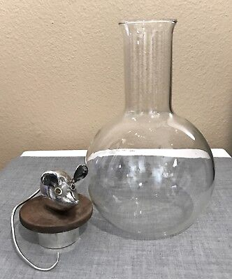 Vintage Dorothy DelGaudio Glass Decanter w Solid Sterling Silver Mouse Finial