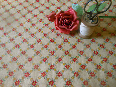 Antique French Small Scale Cotton Floral Fabric ~ Mustard Red Green ~doll quilt