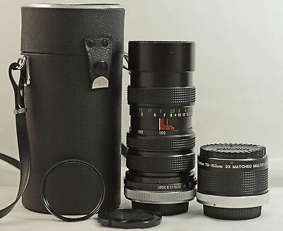Canon Fd Mount Vivitar 70-150Mm F3.8 Close Focus Lens With 2X Matched Multiplier