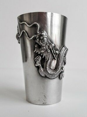 Fine Chinese Export Silver Beaker With Applied Dragon & Sea Creatures, Signed