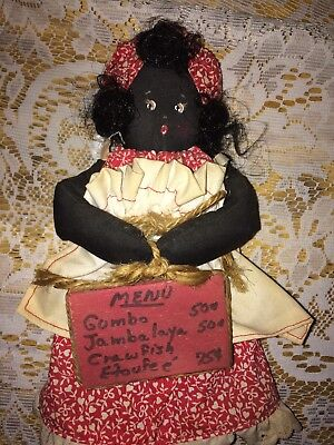 Vintage African American Rag Doll With Menu Of Southern Food Hand Painted Face
