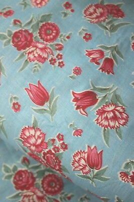 Vintage French printed c1920 cotton blue with red and pink flowers UNUSED