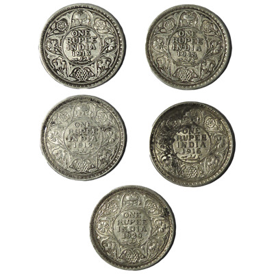 Lot of 5 - 1 Rupee British India George V Silver