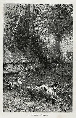 Bee Honeybee Hive Attacks Pointer Hunting Dogs at Apiary, 1880s Antique Print