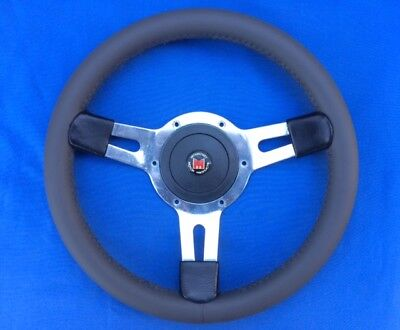 Classic 1970's Original Mountney 13inch 3 Spoke Dark Grey Leather Steering Wheel