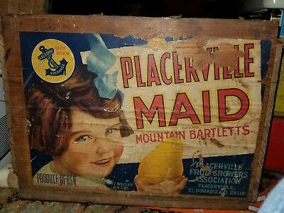 Vintage Placerville Maid Mountain Bartletts Wood Crate