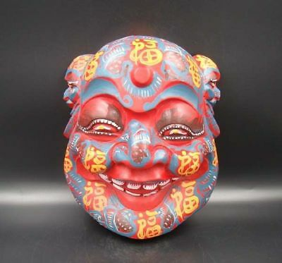 """Handmade Carving colored drawing wood Mask Smiling Face Buddha 10.24"""""""