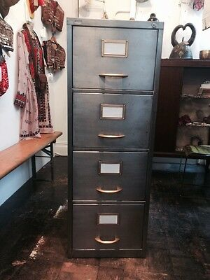 Vintage Industrial Stripped Metal Filling Cabinet Mid century