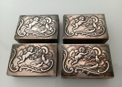 4 Victorian Estate Sterling Silver Match Box Covers Cherub Birds Repousee BMco