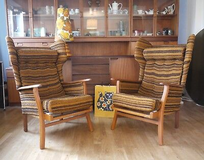 Pair of vintage wing arm chairs. 50s 60s 2 retro cocktail chairs